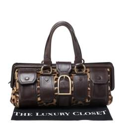 Celine Brown/Beige Leopard Print Calfhair and Leather Satchel