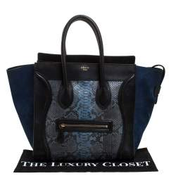 Celine Multicolor Python/Suede and Leather Mini Luggage Tote