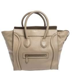 Celine Beige Leather Mini Luggage Tote