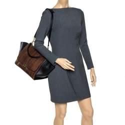 Celine Black/Brown Leather and Python Medium Trapeze Top Handle Bag