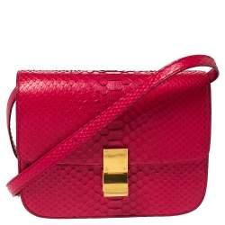 Celine Magenta Python Medium Classic Box Shoulder Bag