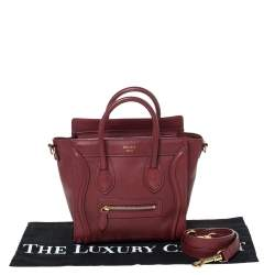 Celine Red Leather Nano Luggage Tote