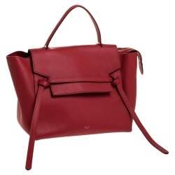 Celine Red Leather Belt Top Handle Bag
