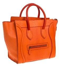 Celine Orange Python Mini Luggage Tote