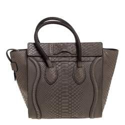 Celine Grey Python Micro Luggage Tote
