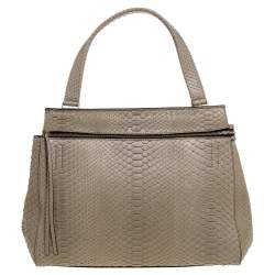 Celine Light Olive Green Python Medium Edge Top Handle Bag