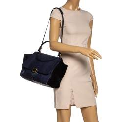 Celine Blue/Black Python and Suede Small Trapeze Top Handle Bag