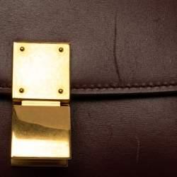 Celine Burgundy Leather Small Classic Box Flap Bag