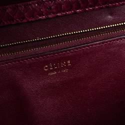 Celine Burgundy Python Medium Classic Box Shoulder Bag