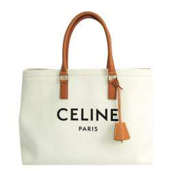Celine White Canvas Leather Horizontal Cabas Tote Bag