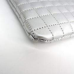 Celine Silver Quilted Leather C Charm Clutch Bag