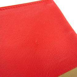 Celine Bicolor Beige/Red Leather Solo Clutch Bag