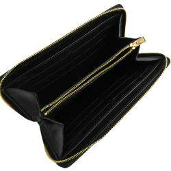 Celine Black Embossed Leather Large Zipped Multifunction Wallet