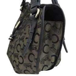 Celine Brown/Black Canvas Satchel Bag