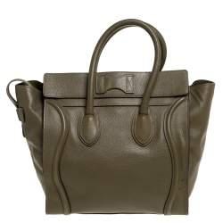 حقيبة يد سيلين ميني لاغيدج جلد خضراء زيتونية