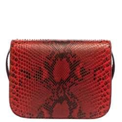 Celine Red/Black Python Medium Classic Box Shoulder Bag