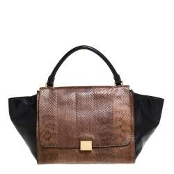 Celine Black/Brown Leather and Python Medium Trapeze Top Handle Bag