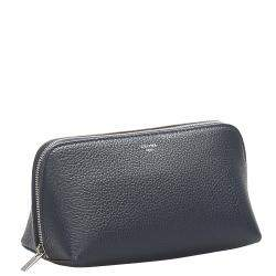Celine Black Leather  Small Cosmetic Pouch