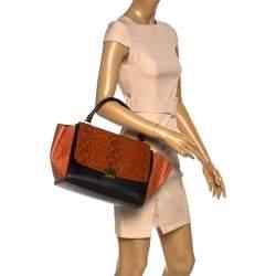 Celine Black/Orange Leather and Python Medium Trapeze Top Handle Bag