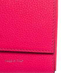 Celine Noen Pink Grained Leather Snap Flap Pouch