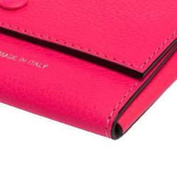 Celine Neon Pink Grained Leather Snap Flap Pouch