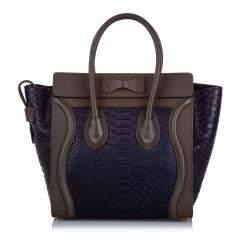 Celine Purple Mini Python Luggage Tote Bag