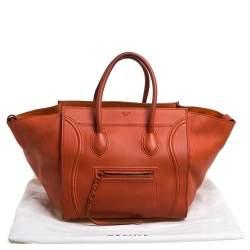 Celine Orange Leather Medium Phantom Luggage Tote