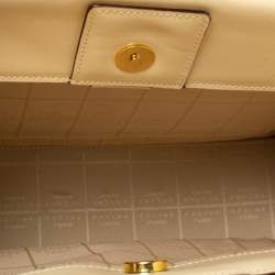 Celine Light Cream Leather Ring Handle Tote
