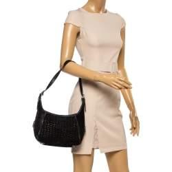 Celine Black Monogram Suede and Leather Shoulder Bag