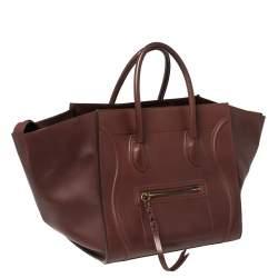 Celine Burgundy Leather Medium Phantom Luggage Tote