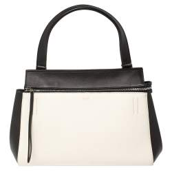 Céline Black/White Leather Small Edge Top Handle Bag