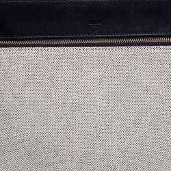 Celine Black/Ivory Leather and Canvas Medium Edge Top Handle Bag