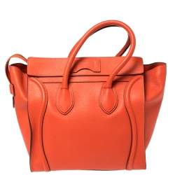 Celine Orange Leather Mini Luggage Tote
