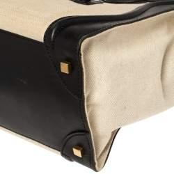 Celine Beige/Black Canvas and Leather Mini Luggage Tote