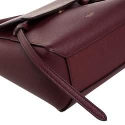 Celine Burgundy Leather Nano Belt Top Handle Bag