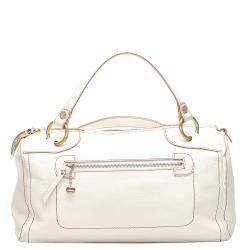 Celine White Grained Leather Vintage Handle Bag