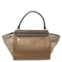 Celine Tricolor Leather and Canvas Large Trapeze Top Handle Bag