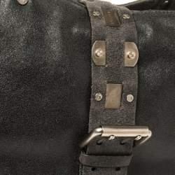 Celine Black Nubuck Leather Buckle Flap Tote