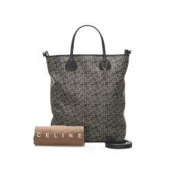 Celine Brown Coated Canvas Carriage Satchel