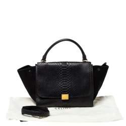Celine Black Python and Suede Medium Trapeze Top Handle Bag
