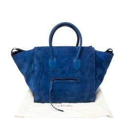 Celine Blue Suede and Leather Large Phantom Luggage Tote