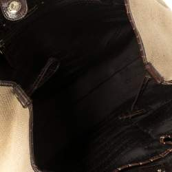 Celine Brown/Beige Canvas and Croc Embossed Leather Boogie Tassel Tote