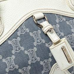 Celine White/Blue Macadam Canvas and Leather Dome Satchel