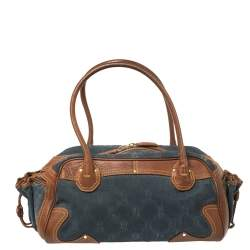 Celine Blue/Brown Macadam Denim and Leather Drawstring Pocket Satchel