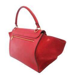 Celine Red Leather Trapeze Satchel bag