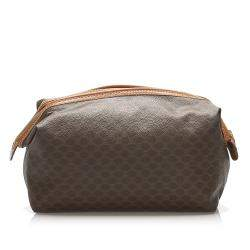 Celine Brown Leather Macadam Pouch