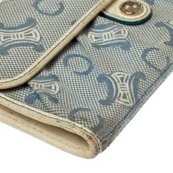 Celine Blue Macadam Denim and Leather Trim Continental Wallet