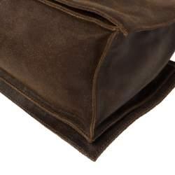 Celine Dark Brown Nubuck Leather Buckle Flap Tote