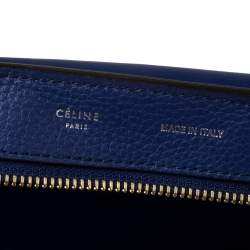 Celine Blue Leather and Suede Medium Trapeze Bag