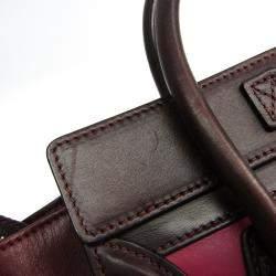 Celine Bordeaux/Pink Leather Luggage Nano Shopper Bag